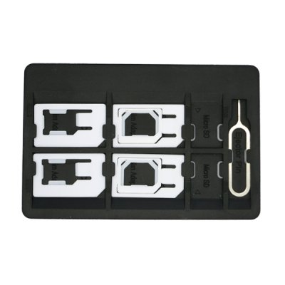 SIM Card Storage Holder with 6 Adapters & 1 Iphone Eject Pin
