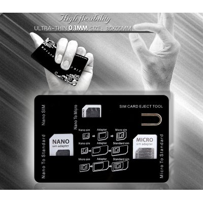 SIM Card Storage Holder with Adapters & Iphone Eject Pin