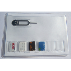SIM Card Holder for 6 Nano size sim cards + Iphone Pin Tool