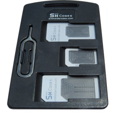 Small SIM Card Holder Case with 3 sim card adapters & Iphone Pin